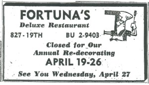 April 21, 1960...Closed for Remodeling