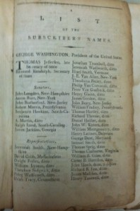George Washington and Thomas Jefferson listed as subscribers